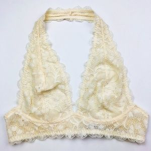 Free People Galloon Lace Halter Bralette Ivory XS